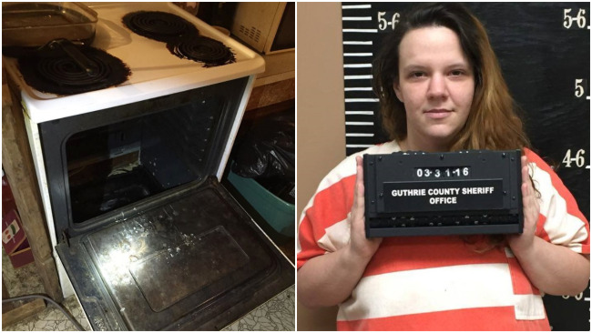 Gabrielle Looper arrested after hiding in her oven, Guthrie Co. Sheriff's Dept.