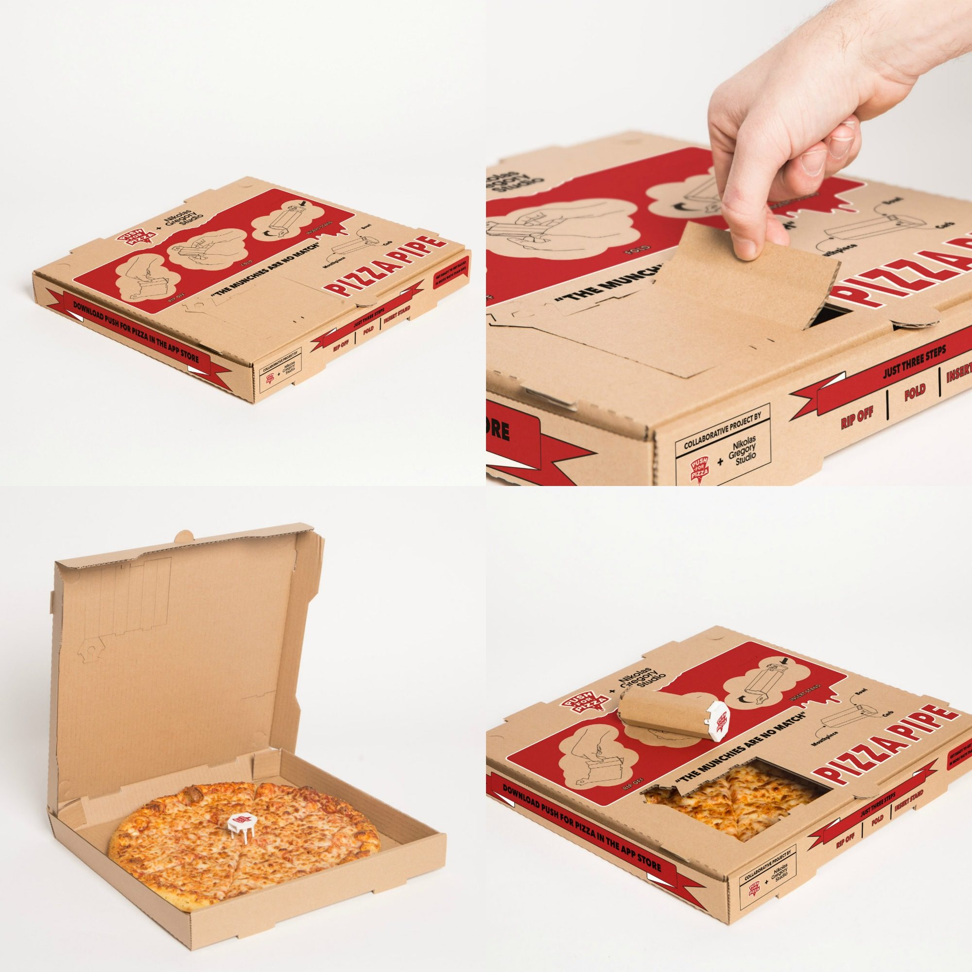 The steps to transform your pizza box, Push For Pizza