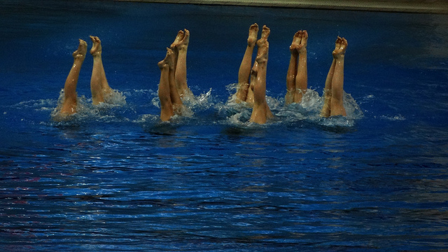 Synchronised swimmers' feet, file picture, Ben Sutherland