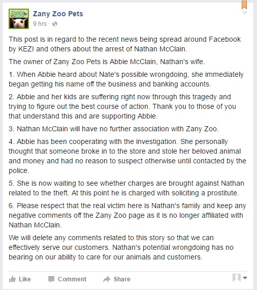 Message left on Facebook page, Zany Zoo Pets/Facebook