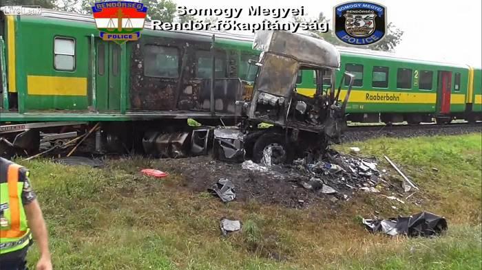 Train truck crash in Hungary 2