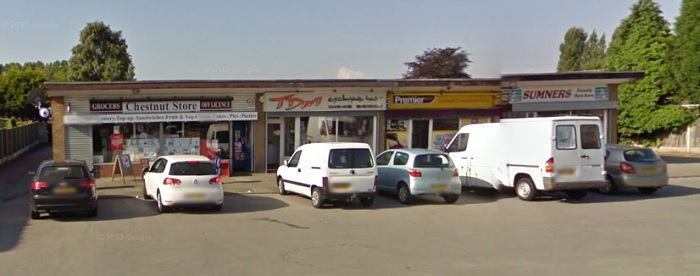 The shop on the left before the crash, Google Street View