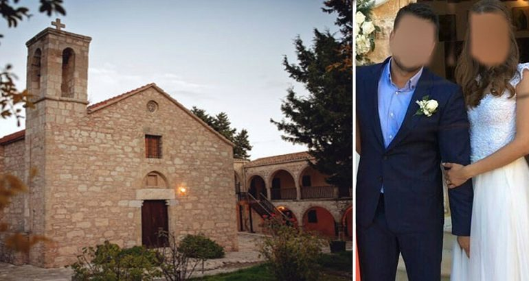 The church of the incident  & the couple at their wedding, Cyprus Mail