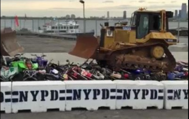 The crushing of the bikes, NYPD/Facebook