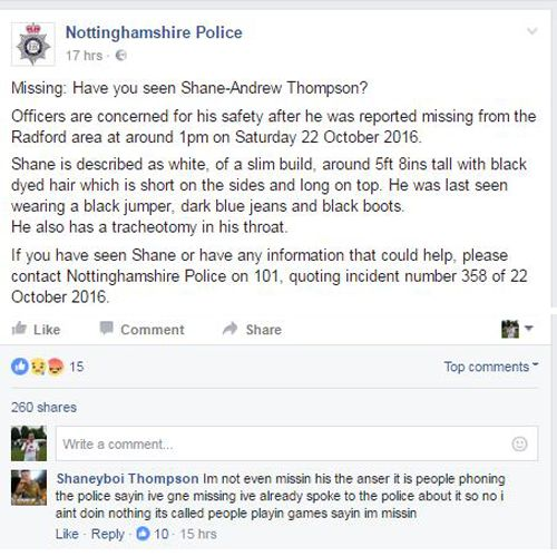 Nottingham Police Facebook Post