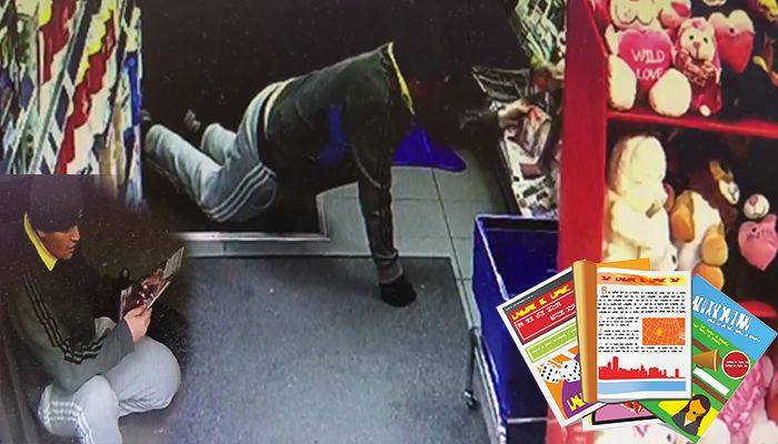 Crawling thief steals magazines