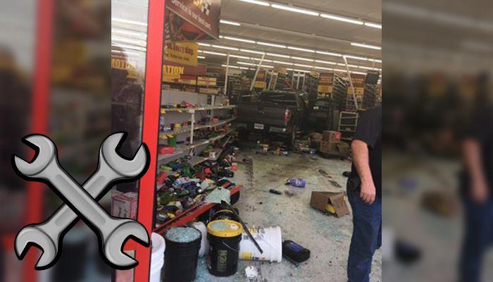 Car crash into auto shop