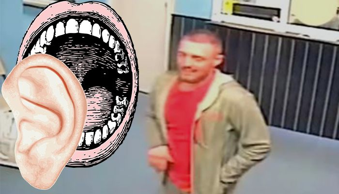 Man bites woman's ear in an unprovoked attack