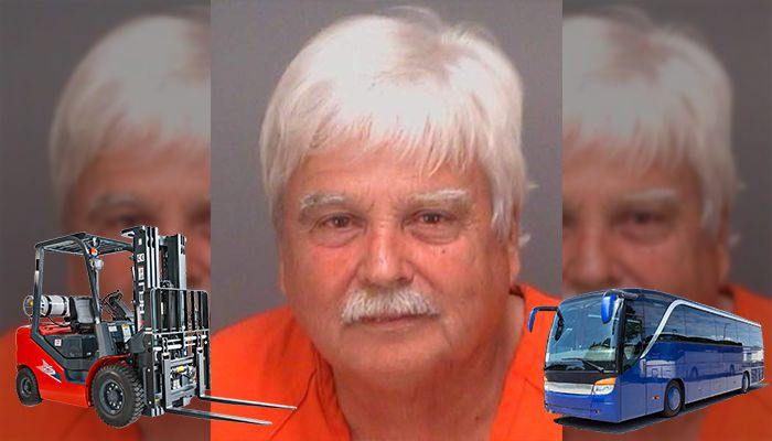 Colin Lee Showard Man pins girlfriend to bus with Forklift