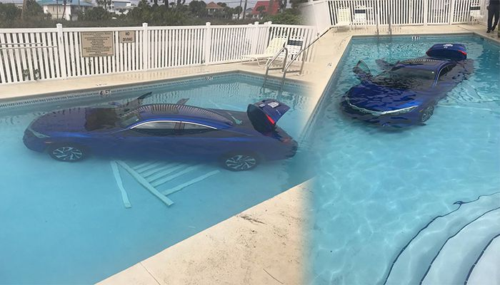 Woman forgets to put car in park, car rolls into pool with husband, child inside